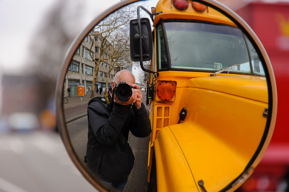 selfie met schoolbus